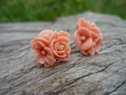 Náušnice Trojité Růžičky lososové