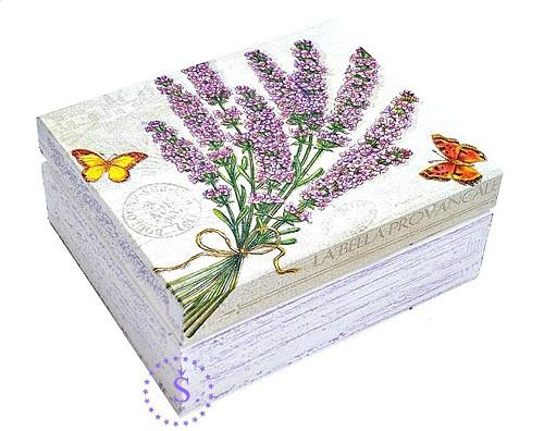 dřevěná krabička, - kytice levandule...