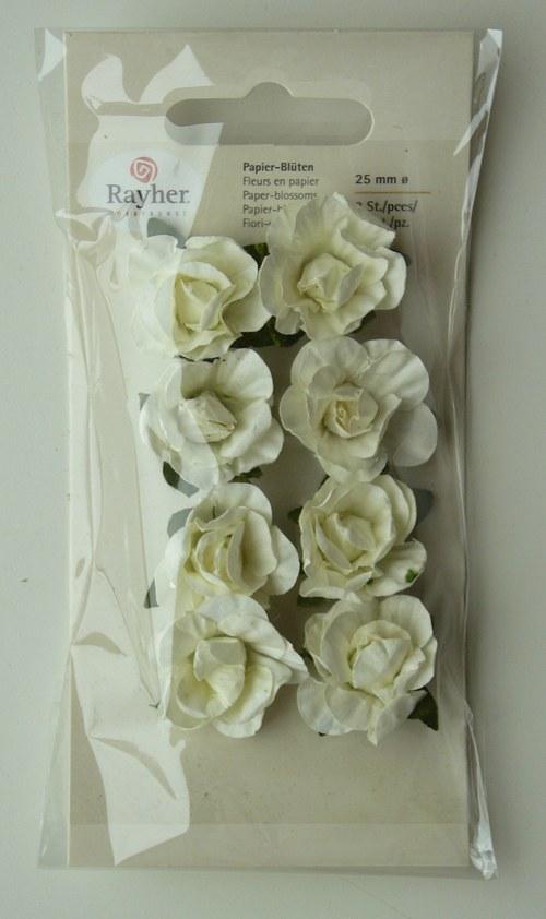 Papírové květy 8 ks  2-2,5 cm