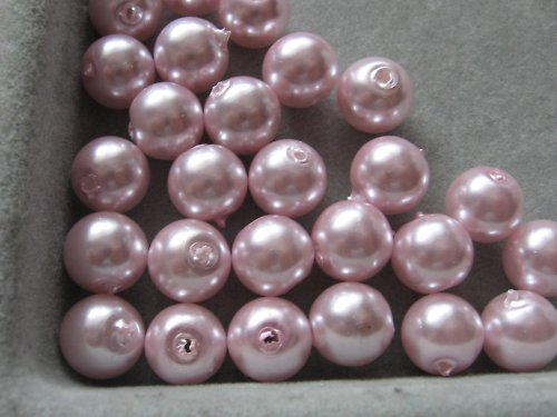 Vosková perla - růžová 8 mm / 25ks