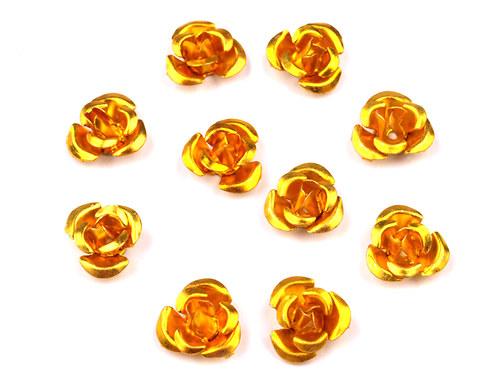 Růžička Ø10mm kovová žlutá, 10ks