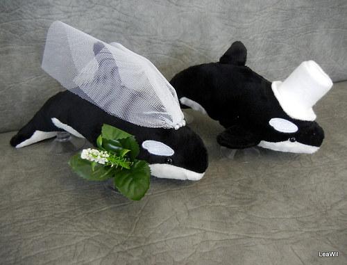 Svatební plyšáci na auto - velryby kosatky