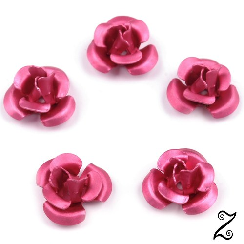 Kovová růžička, růžová fuksie, 12 mm (10ks)