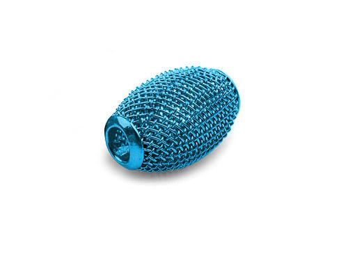 9001096/Drátkovaný korálek široký, azurový, 1 ks