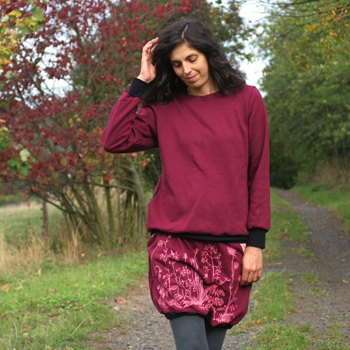 Teplá zimní sukně Louka č. 2, barva na přání