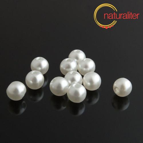Voskované perly, bílé, 8mm, 50ks