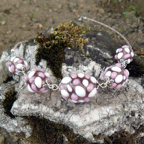 Náhrdelník - růžové mozaikové olivy