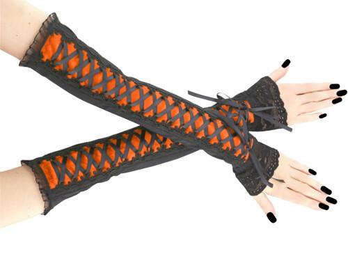 Společenské dámské rukavice oranžové gothic 0R10