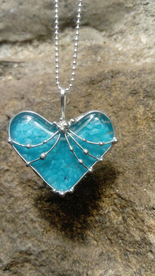 Aquamarin srdce 3D efekt