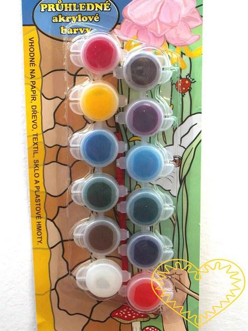 Akrylové barvy průhledné - sada 12 kusů