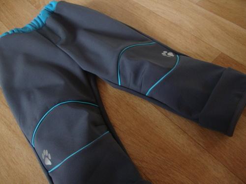 Rostoucí softshellové kalhoty šedo - tyrkysové