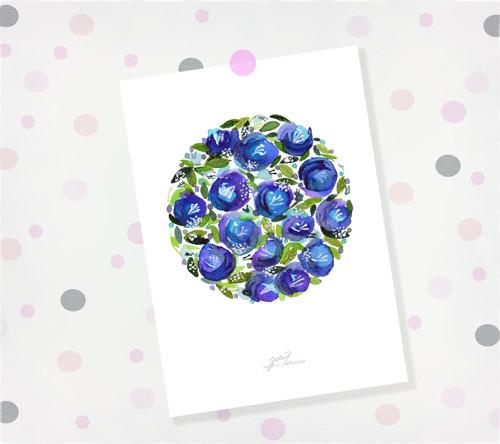 Zahrádka modrá. Signovaný tisk do rámu A4