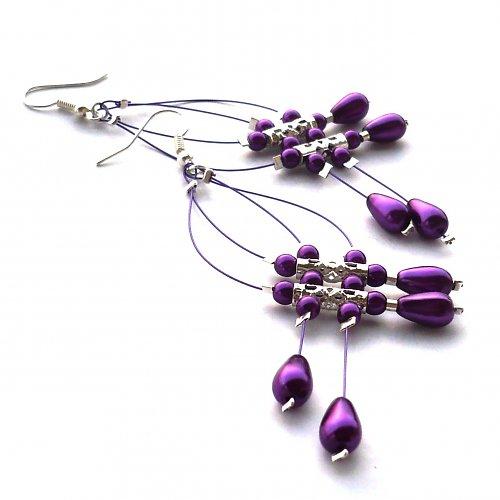 Fialové dešťové náhrdelníčky do oušek II.menší per