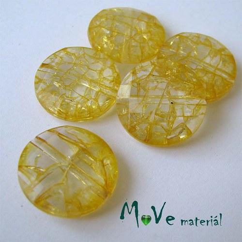 Korálek Krakl plast placka žlutá 20mm 5ks