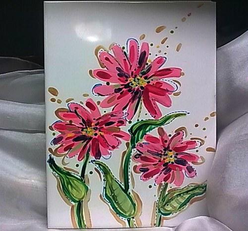 Kachle - Růžová květina 3 (sleva)