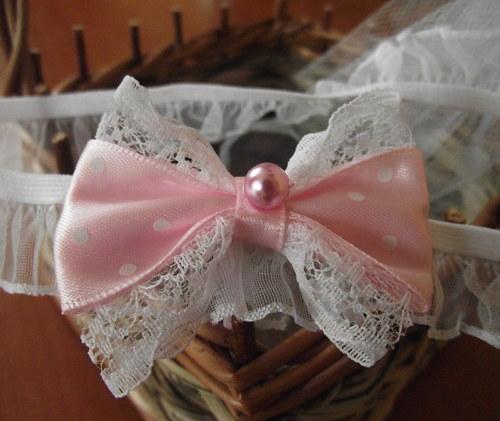 Růžová krajková čelenka pro miminko