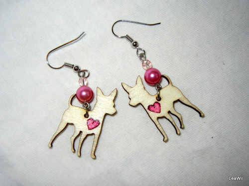 Naušnice pes pražský krysařík srdce růžové