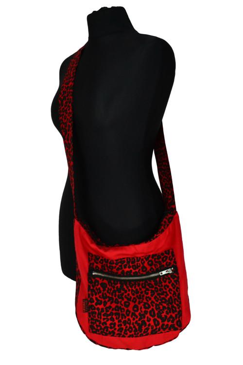 Punk/Metal taška červená/červený leopard