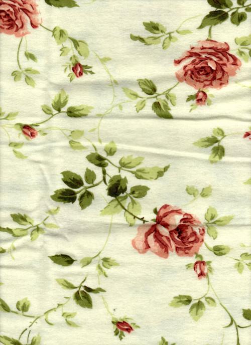 Látka s potiskem, flanel, červené velké růže