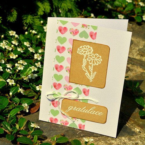 Gratulace - květina a srdce, P88