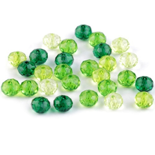 Plastové korálky slavík, zelená, 7x10mm (20g)