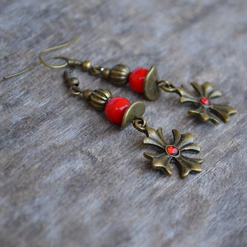 Naušnice - červený křížek