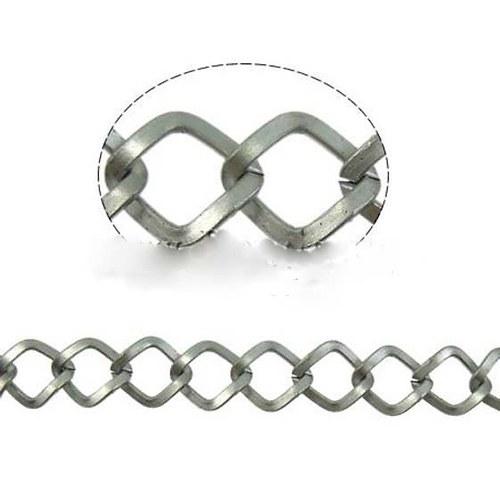 Řetízek Rhombus 9,5x10,5 - 1m - Platinový