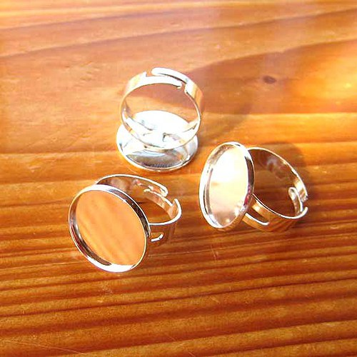 Prsten s Lůžkem 18mm - 1ks - Stříbrný