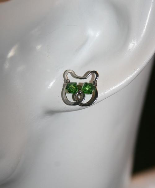 Náušnice bodovky - Kočka zelenoočka - ocel