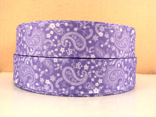 Stuha rypsová š.25 mm:Paisley-fialová