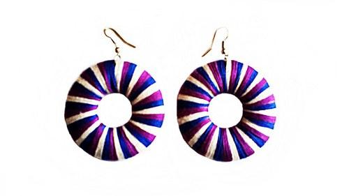 Modro - fialovo - bílé náušnice