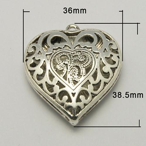srdce DUO 3D / ant.stříbro/ 36x39mm/ 1ks