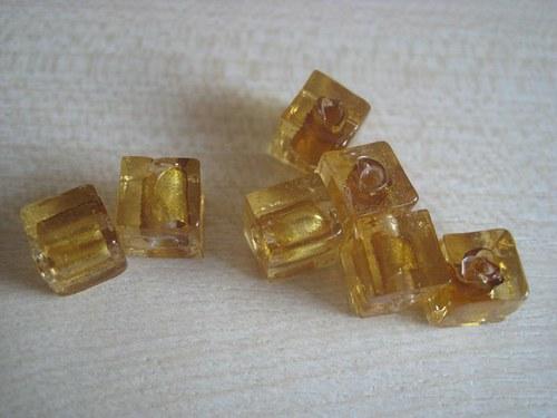 Kostky žluté,sklo+stříbrná fólie, 2ks/6,-