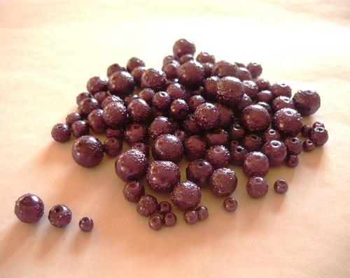 Perličky skleněné  vroubkované fialové, 30g