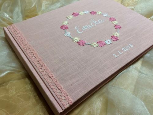 """Album ,, květinový věneček \"""" růžovolososová, A4"""