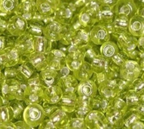 Korálky sklo 100g -sv. zelená, průhledná 2mm
