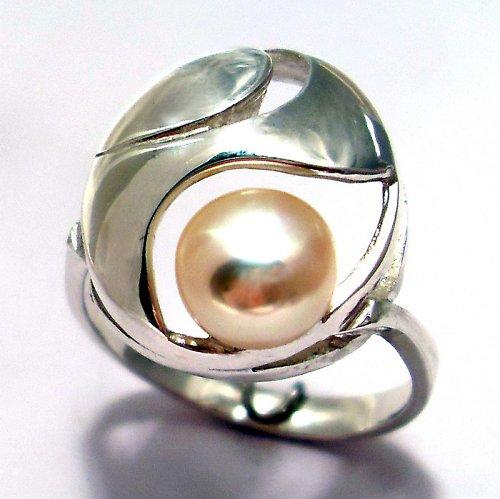 Prsten «Břízový vítr» - růžová perla, Ag 925/1000