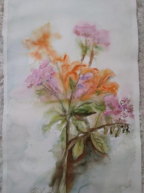 Akvarel originál Polní lilie