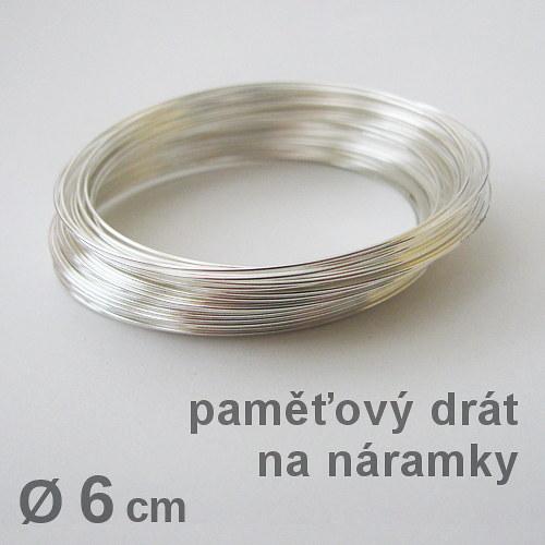 Paměťový drát na náramek, stříbrná b. Ø 6cm