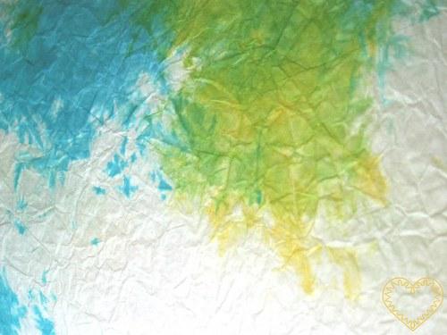 papír batikovaný mačkaný - tyrkysový