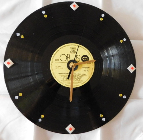 Hodiny LP deska - vinyl s mozaikou sluníčko