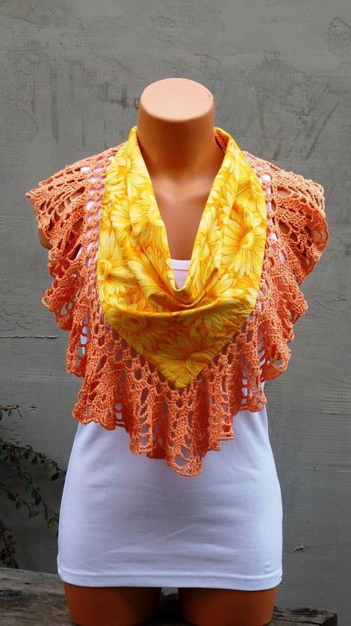 Šátek v pavučince - slunečnicový SLEVA
