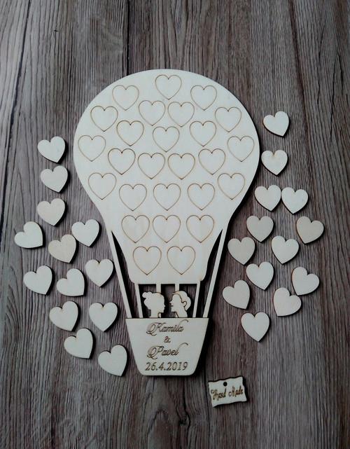 Svatební balón nevěsta+ženich- 26 srdíček - 34x21c