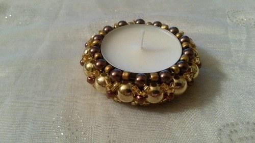 mini svícen-hnědý se zlatou