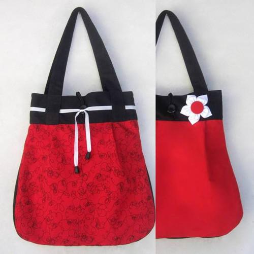 Červenočerná  OBOUSTRANNÁ taška 2v1