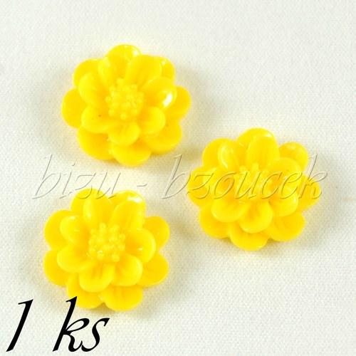 Žlutý kabošon kateřinka 15mm