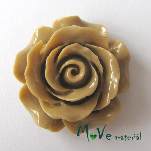 Kabošon květ lesklý resin/1ks/hnědý/ II. jakost