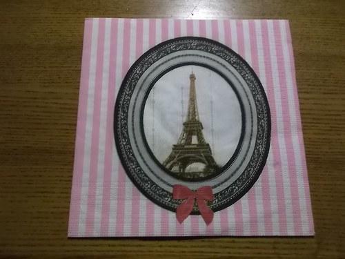 Ubrousek na decoupage - Eiffelovka v proužcích