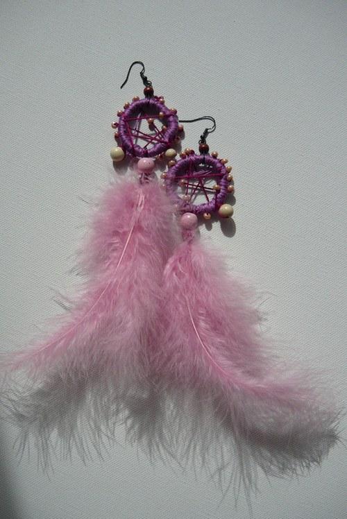 náušnice ve stylu indiánských lapačů Růžové