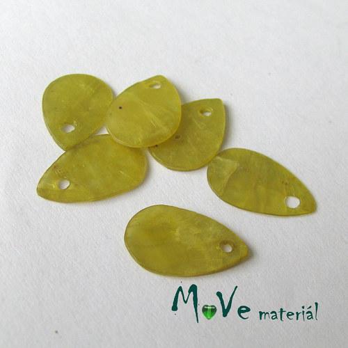 Perleťové penízky kapičky 13x9m, 6ks, žluto-zelené
